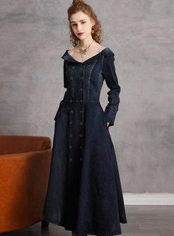 Off-the-shoulder A Line Denim Maxi Dress