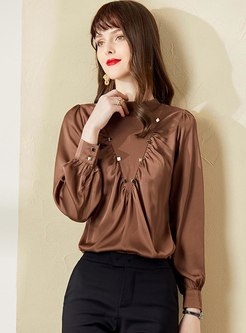 Long Sleeve Pullover Ruched Blouse