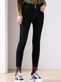 Black High Washed Denim Skinny Pants