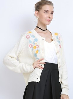 Crew Neck Flower Embroidered Cardigan