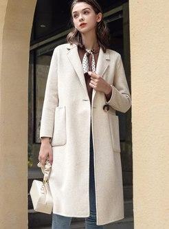 Lapel Long Sleeve Knee-length Overcoat