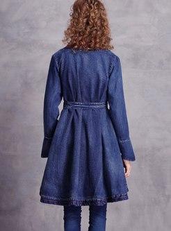 V-neck Embroidered A Line Denim Coat