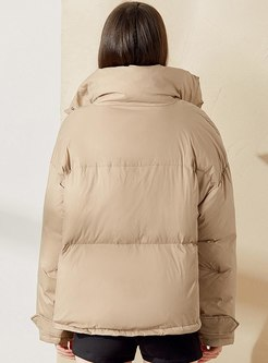 Mock Neck Short Straight Down Coat