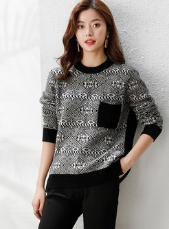 Pullover Print Patchwork Wool Sweater