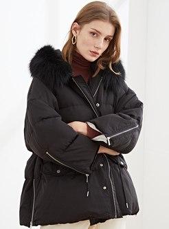 Hooded Drawstring Short Loose Down Coat