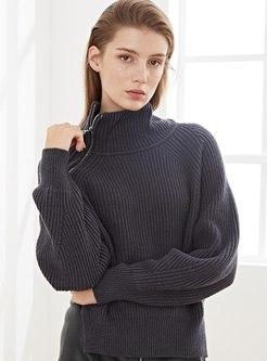 Turtleneck Pullover Loose Split Sweater