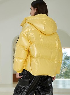 Hooded Shiny Short Puffer Jacket