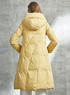 Hooded Long Sleeve A Line Down Coat