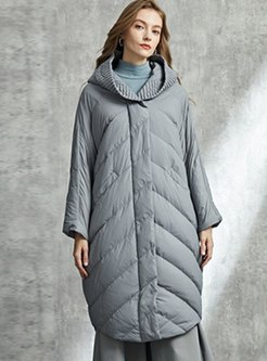 Pure Color Hooded Straight Down Coat