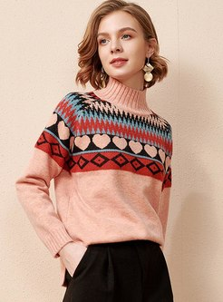 Mock Neck Print Pullover Loose Sweater
