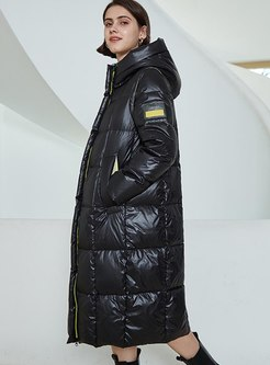 Hooded Long Straight Puffer Coat