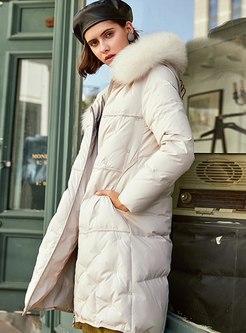 Hooded Knee-length Loose Down Coat