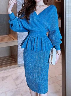 V-neck Bat Sleeve Ruffle Knitted Skirt Suits
