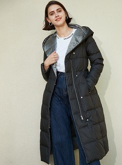 Pure Color Hooded Long Puffer Coat