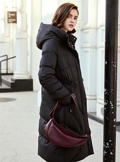 Hooded Knee-length Straight Down Coat