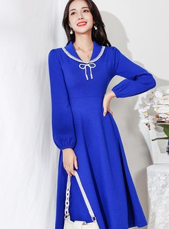 Lapel Long Sleeve A Line Knitted Dress