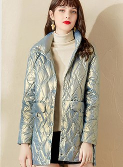 Long Sleeve Diamond Shiny Down Coat