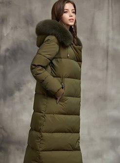 Hooded Long Straight Puffer Coat