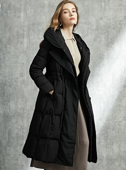 Solid Drawstring A Line Long Down Coat