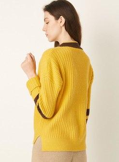 Color-blocked V-neck Pullover Sweater