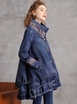 Stand Collar Embroidered Straight Denim Coat