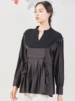 V-neck Knitted Pullover Pleated Blouse