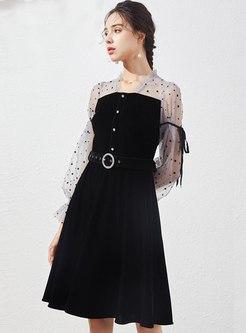 Square Neck Polka Dot Patchwork Velvet Dress