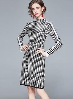 Mock Neck Houndstooth A Line Knitted Dress