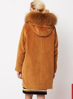 Hooded Straight Knee-length Corduroy Down Coat