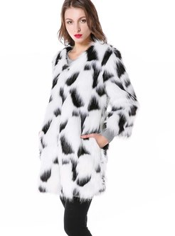 Color-blocked Straight Faux Fur Coat