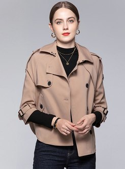 3/4 Sleeve Single-breasted Short Cape Coat