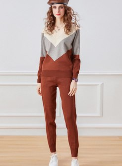 V-neck Pullover Color-blocked Knitted Pant Suits