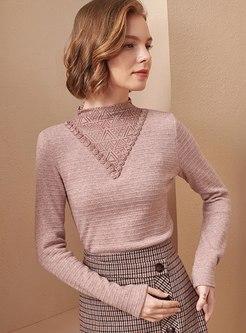 Mock Neck Slim Pullover Ribbed Sweater