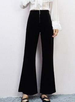 High Waisted Wide Leg Velvet Flare Pants