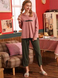Long Sleeve Letter Embroidered Pajama Set