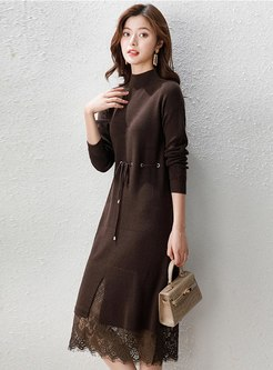 Mock Neck Lace Patchwork Drawstring Knitted Dress