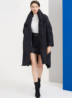 Notched Solid Straight Knee-length Down Coat