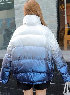 Mock Neck Color-blocked Shiny Puffer Jacket