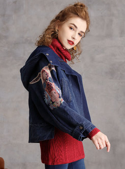Hooded Embroidered Denim Straight Coat
