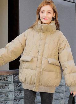 Mock Neck Loose Solid Puffer Jacket