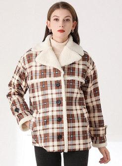Notched Collar Plaid Fleece Overcoat