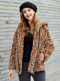 Sweet Leopard Print Faux Fur Coat