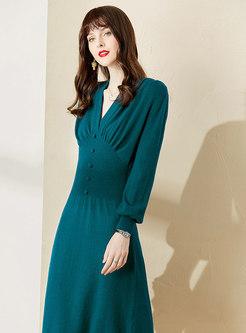 V-neck Lantern Sleeve Ruched Midi Dress