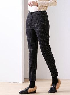 High Waisted Retro Plaid Skinny Pants