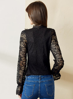 Mock Neck Mesh Lace Patchwork Blouse