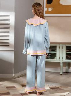 Color-blocked Lapel Cotton Pajama Set