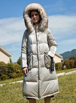 Hooded Straight Ribbon Long Puffer Coat