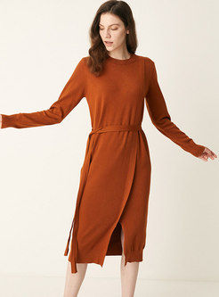 Crew Neck Long Sleeve Split Sweater Dress
