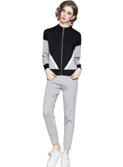 Color-blocked Mock Neck Slim Knitted Pant Suits