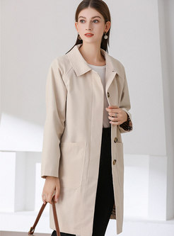 Turn Down Collar Single-breasted Trench Coat